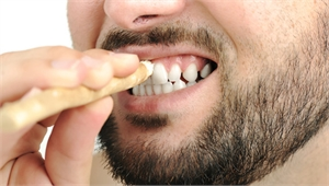Brushing teeth with a miswak toothbrush