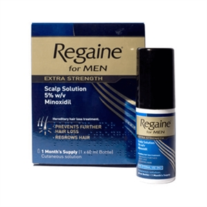 Regaine for men. This medicament prevents hair loss and stimulates the hair follicles.