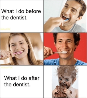 How people brush before and after dentist appointment