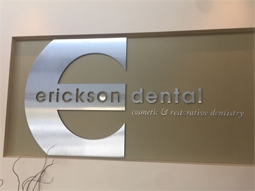 Wall signage of Irving dentist Erickson Dental