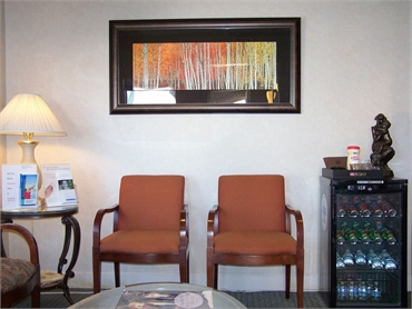 Spacious waiting area and refreshments at San Bruno Center for Dental Medicine