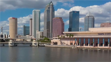 Tampa Convention Center and background view of Tampa Downtown at 16 minutes drive to the south of Ca