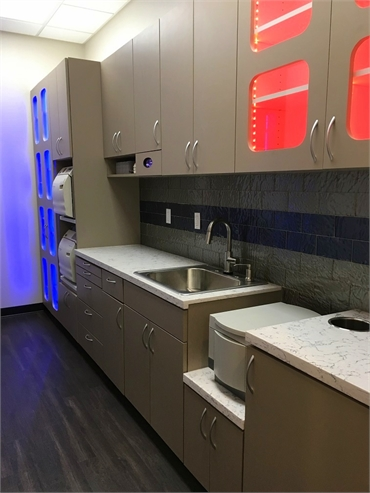Sterilization room at Dentistry By Design located at 3 minutes drive to the north of Crowley Park