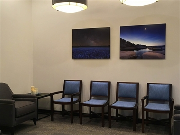 Waiting lounge at our dental implant center located just 4.6 miles to the north of Prairee Creek Par