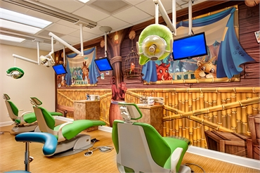 children will love the mural painting as they get their dental work done
