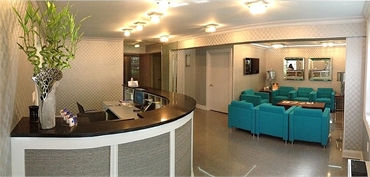 Suave interiors at our dentistry office just opposite Afterwork Theater between Broadway and Univers