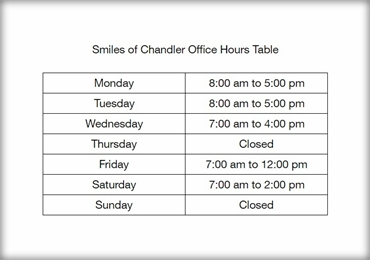 Smiles of Chandler Office Hours Table