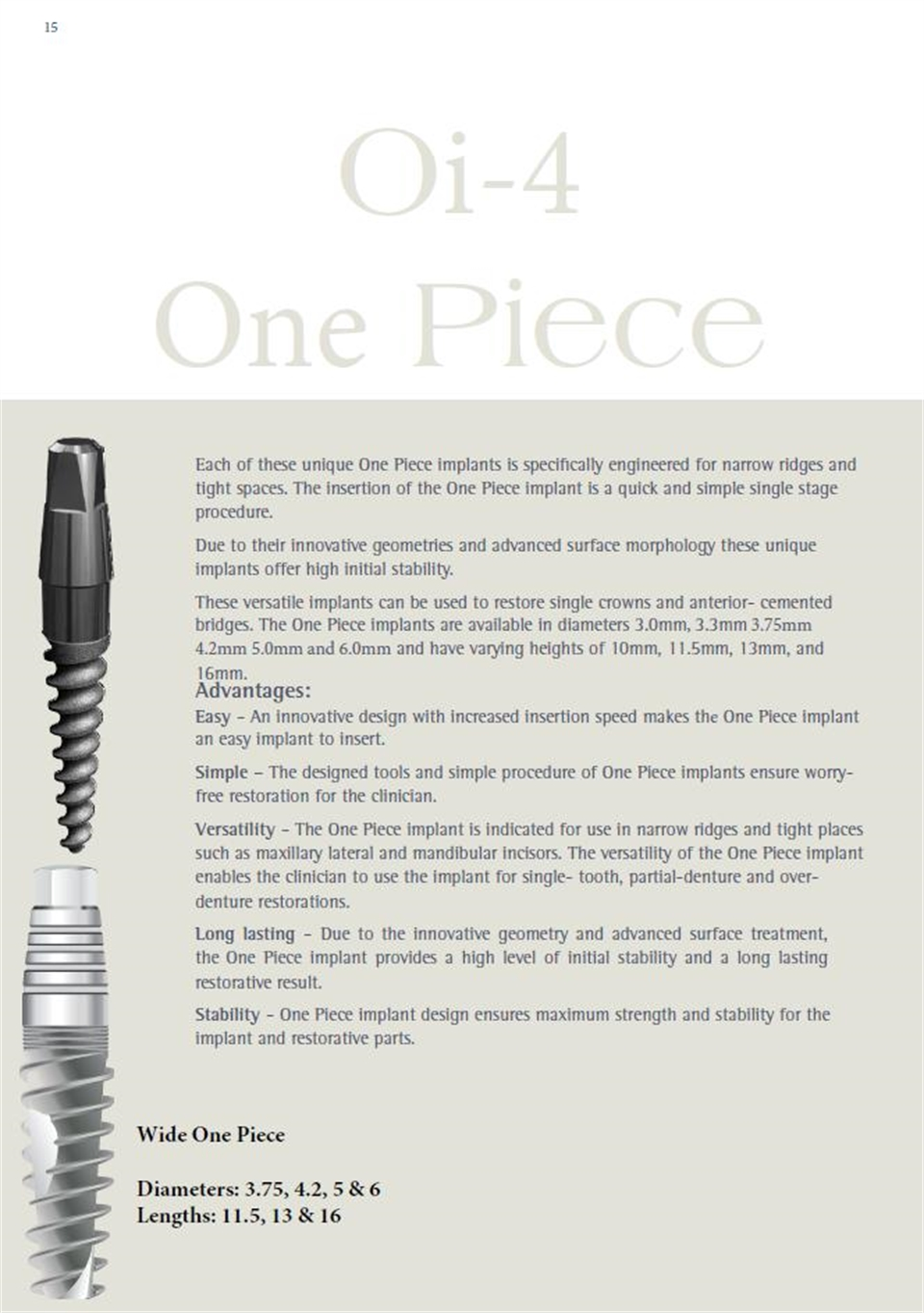 Each of these unique One Piece implants is specifically engineered for narrow ridges and tight spaces.