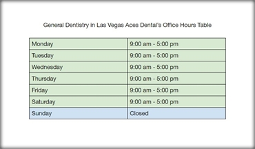 General Dentistry in Las Vegas Ace Dentals Office Hours Table
