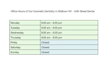 Office hours at 54th Street Dental just 1.8 miles to the north of Prism at Park Avenue South Apartme