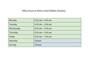 Office Hours at Athens Area Pediatric Dentistry