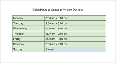 Office Hours at Center of Modern Dentistry Rancho Cucamonga  CA 91730