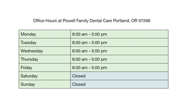 Office Hours at Powell Family Dental Care Portland OR 97266