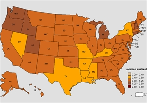 Concentration of employment for dental hygienists in USA