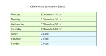 Office hours at Eugene dentist Harmony Dental