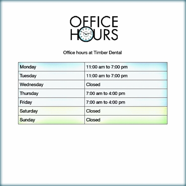What are the office hours at Timber Dental Portland OR 97212
