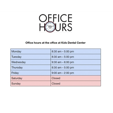 What are the office hours at Kids Dental Center Chandler AZ