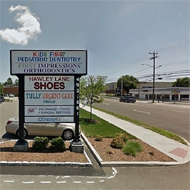 Signboard of Kids First Pediatric Dentistry Norwalk CT 06851