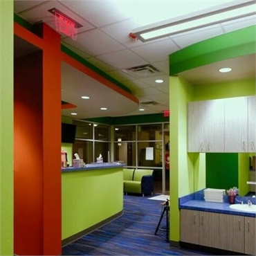 Waiting area and reception center at Smile Shoppe Pediatric Dentistry  Bentonville AR