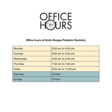 What are the office hours provided by Smile Shoppe Pediatric Dentistry Bentonville AR 72712