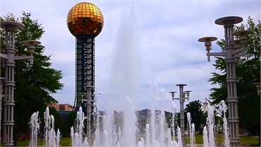 World's Fair Park fountains and Sunsphere 6 miles to the northeast of Knoxville dentist Robert M. Ke