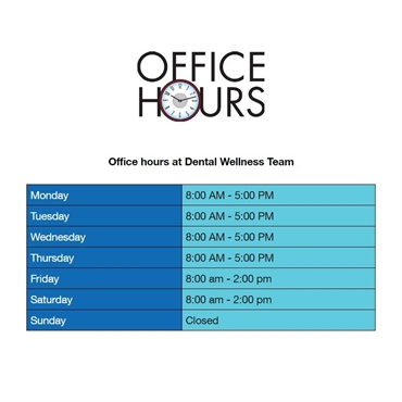 Office hours of Coral Springs dentist Dental Wellness Team