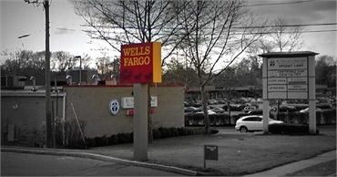 Wells Fargo bank and ATM few paces away from Milford dental implants specialist Shoreline Dental Car