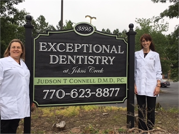 Signboard outside Suwanee dentist  Exceptional Dentistry at Johns Creek Judson T. Connell DMD