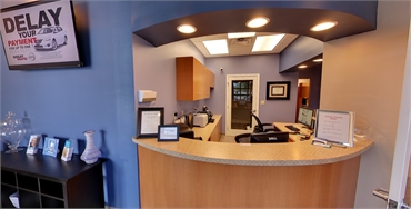 Reception area at New Port Richey dentist A Glamorous Smile