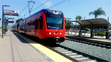 San Diego MTS arriving at E Street Station at 14 minutes drive to the west of Chula Vista dentist Es