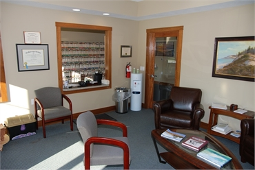Waiting room and refreshments area at  the office of Traverse City dentist Lisa Siddall DDS