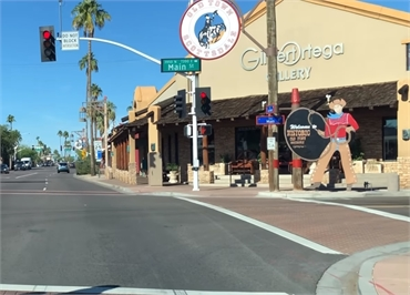 Old Town Scottsdale 11 minutes drive to the south of Scottsdale dentist A Reason to Smile