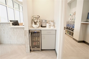 Refreshment area at O2 Dental Group of Wilmington NC