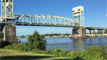 Cape Fear Memorial Bridge 16 minutes drive to the west of Wilmington dentist O2 Dental Group of Wilm