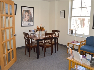 Patient desk and waiting area at Hayden dentist River Valley Dental
