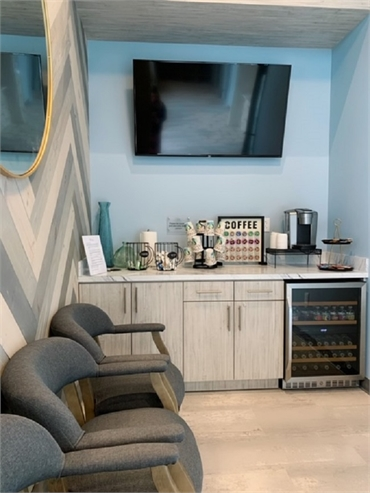 Refreshment bar and waiting area at O2 Dental Group of Durham NC
