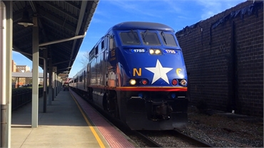 Amtrak Piedmont train at Durham NC train station at 15 minutes drive to the east of O2 Dental Group