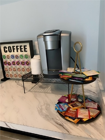 Coffee station at O2 Dental Group of Durham NC