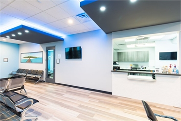 Reception center and waiting area at Dallas dentist Fresca Dental