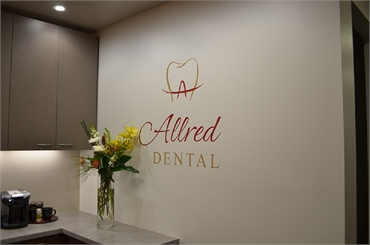Signage near refreshment area at San Marcos dentist Allred Dental
