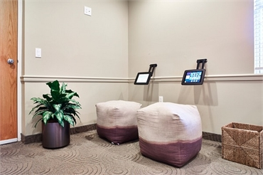 Waiting room with ipads at Chatham Orthodontics NJ