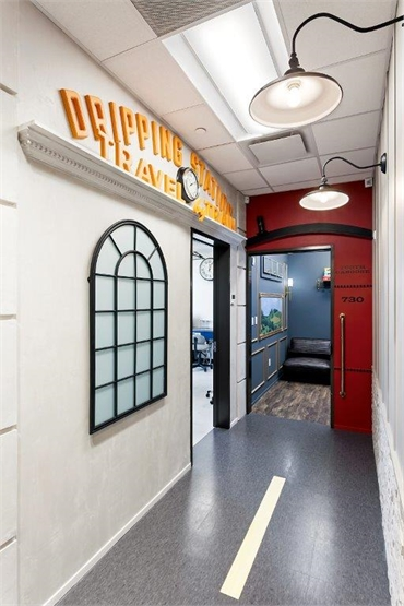 Main street themed hallway at Smiles of Dripping Springs