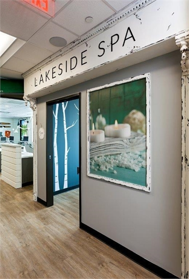 Lakeside Spa themed operatory entrance at Smiles of Dripping Springs