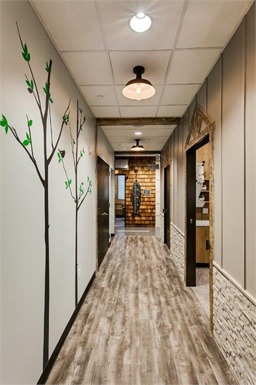 City main street themed hallway at Smiles of Dripping Springs