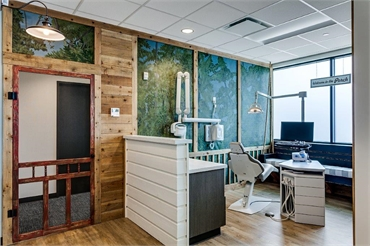 Forest cabin themed operatory at Smiles of Dripping Springs