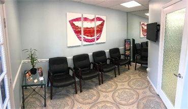 Patient waiting area at our dentist office in Tampa