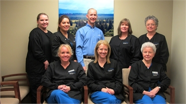 Mark Bancroft and his staff at his cosmetic dentistry office