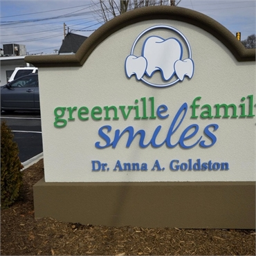 Signboard at Greenville dentist Greenville Family Smiles