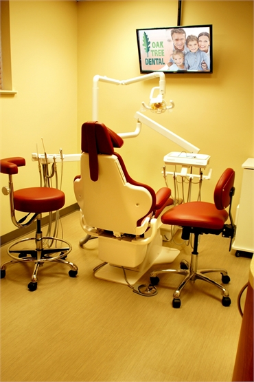 Dental chair in the operatory at Oak Tree Dental